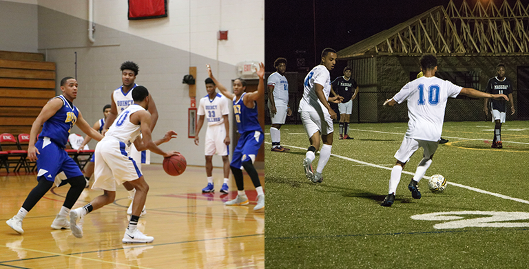 Quincy College Men's Soccer & Basketball Teams during game play
