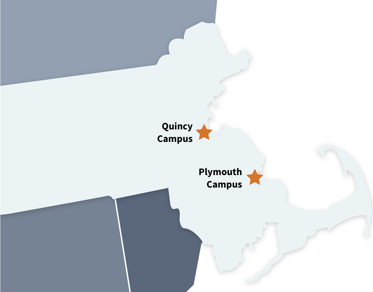A map showing Quincy College's 2 Locations: Quincy, and Plymouth